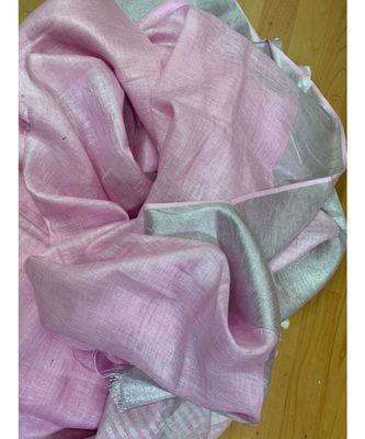 pink woven linen saree