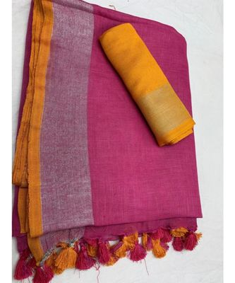 magenta woven linen saree with blouse