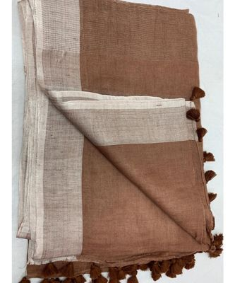 brown woven linen saree