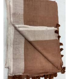 brown woven linen saree
