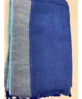 Blue Woven Linen Saree