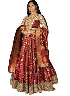 Maroon fancy  silk unstitched lehenga