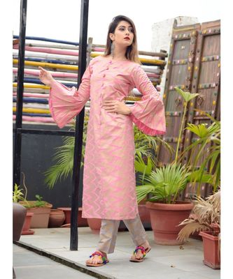pink colour golden printed kurti with printed plazo