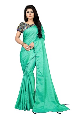 Sky blue printed silk saree with blouse