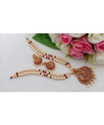 Pearl Necklace With Matt Finish Lakshmi Pendant & Matching Jhumkas