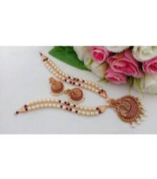 Pearl Necklace with Matt Finish Lakshmi Pendant & Matching Jhumkas