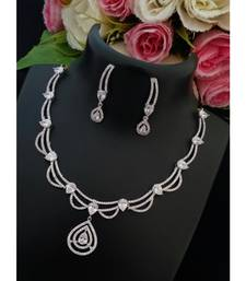 Cute Designer Platinum Finish American Diamond Necklace with Matching Ear Rings