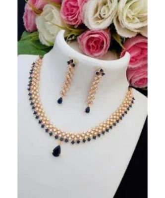 Simple & Cute Designer American Diamond Necklace with Matching Ear Rings
