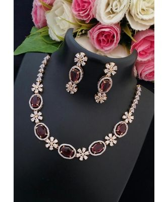 Mezmerising Flower Design American Diamond Necklace With Matching Ear Rings