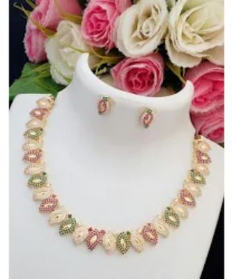 Trendy Desinger American Diamond Mango Necklace with Matching Ear Rings