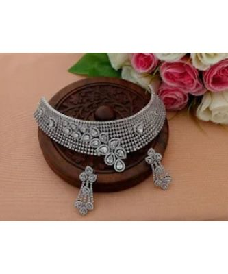 Grand Designer Cubic Zircon Stone Choker With Matching Ear Ring