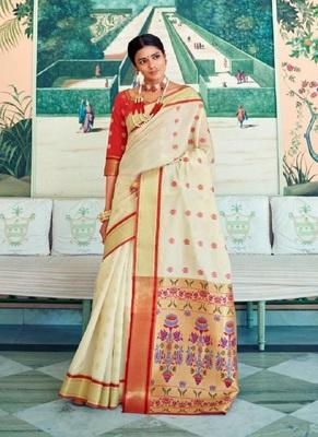 Cream woven paithani silk saree with blouse