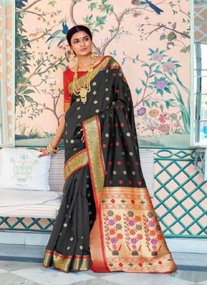 Black woven paithani silk saree with blouse