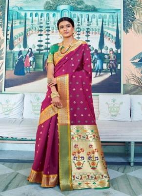 Magenta woven paithani silk saree with blouse