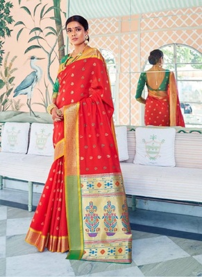 Red woven paithani silk saree with blouse