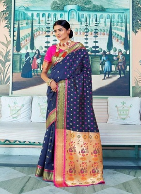 navy blue woven paithani silk saree with blouse