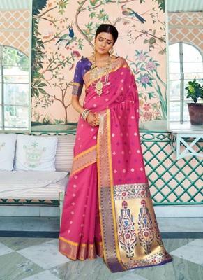 rani pink woven paithani silk saree with blouse