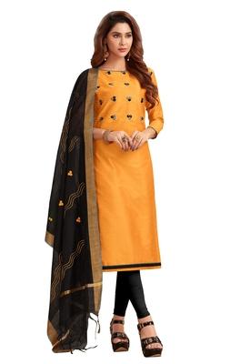 Blissta Women's Mustard Silk Blend Embroidered Dress Material With Beads Work & Thread Work Dupatta