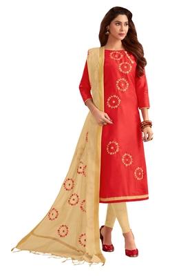 Blissta Women's Red Silk Blend Embroidered Dress Material With Beads Work & Thread Work Dupatta