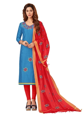 Sky-blue beads silk blend salwar