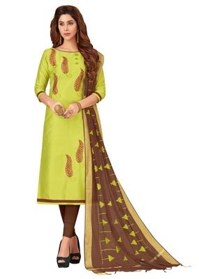 Blissta Women's Light Green Silk Blend Embroidered Dress Material With Beads Work & Thread Work Dupatta
