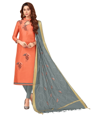 Orange embroidered silk blend salwar