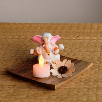 Chaturbhuj Lord Ganesha on Wooden Block with LED Tealight