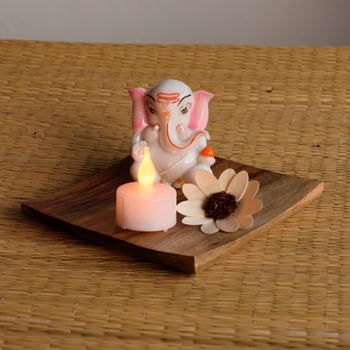Lord Ganesha on Wooden Block with LED Tealight
