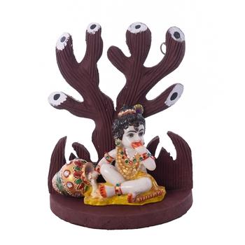 Polyresin Lord Krishna Under Wooden Tree Figurine