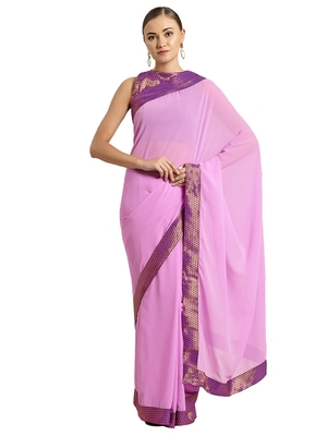 Purple Georgette Solid Bordered saree with blouse