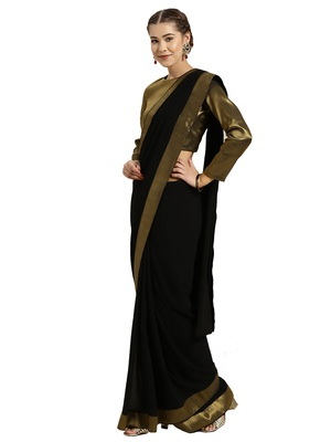 Black Georgette Solid Bordered Saree With Blouse