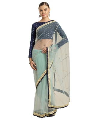 Blue Net Embroidered Lace Bordered saree with blouse