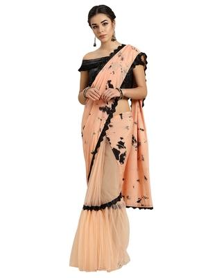 Peach Art Silk Tye & Dye saree with blouse