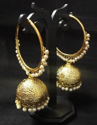 Designer Ethnic Indian Bollywood Gold Plated Self Design Bali Jhumki Earrings Set
