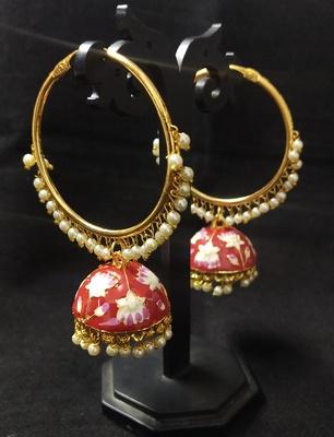 Designer Ethnic Indian Bollywood Red Pink Meenakari Bali Jhumki Earrings Set