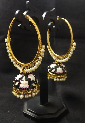 Designer Ethnic Indian Bollywood Black Pink Meenakari Bali Jhumki Earrings Set