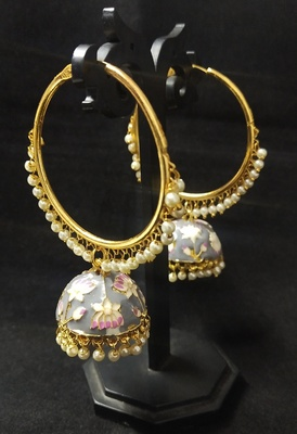 Designer Ethnic Indian Bollywood Grey Pink Meenakari Bali Jhumki Earrings Set