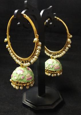 Designer Ethnic Indian Bollywood Mint Green Pink Meenakari Bali Jhumki Earrings Set