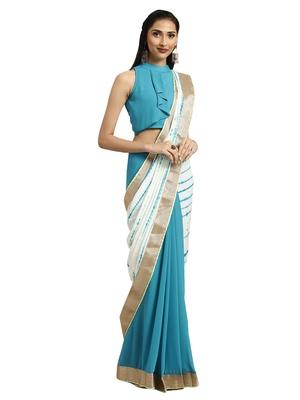 Blue & White Tye & Dye saree with blouse
