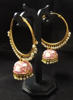 Designer Ethnic Indian Bollywood Peech Pink Meenakari Bali Jhumki Earrings Set
