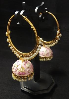 Designer Ethnic Indian Bollywood Magenta Pink Meenakari Bali Jhumki Earrings Set