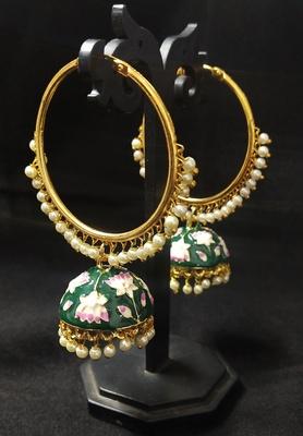 Designer Ethnic Indian Bollywood Green Pink Meenakari Bali Jhumki Earrings Set