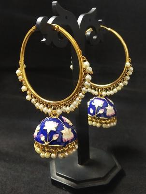 Designer Ethnic Indian Bollywood Blue Pink Meenakari Bali Jhumki Earrings Set