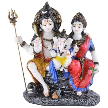 Decorative Blessing Lord Shiva, Goddess Parvati and Lord Ganesha Showpiece