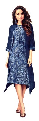 Blue Rayon Block Print Embroidered  Partywear Kurti