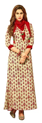 Beige Rayon Block Print Embroidered  Partywear Kurti