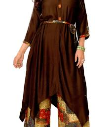 Brown Rayon Block Print Embroidered  Partywear Kurti