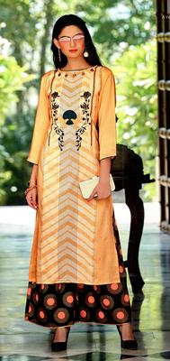 yellow rayon block print embroidered  partywear Kurti Palazzo