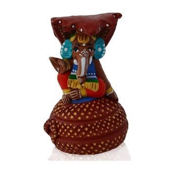 Teracotta Lord Ganesha sitting on Snake