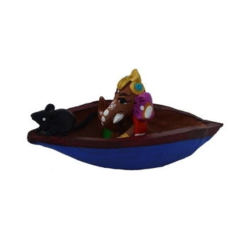 Teracotta Blessing Lord Ganesha in Boat